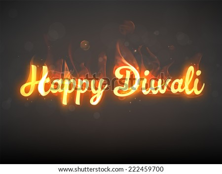 Burning Happy Diwali. Hot Red Fire. Bokeh Elements. Holiday Design. - stock vector