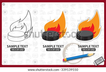 Burning hockey puck logo, realistic ice hockey puck in fire - stock vector
