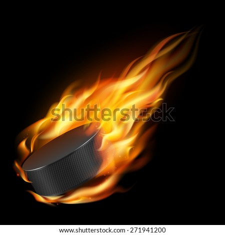 Burning hockey puck on a black background. Vector EPS10 illustration.  - stock vector