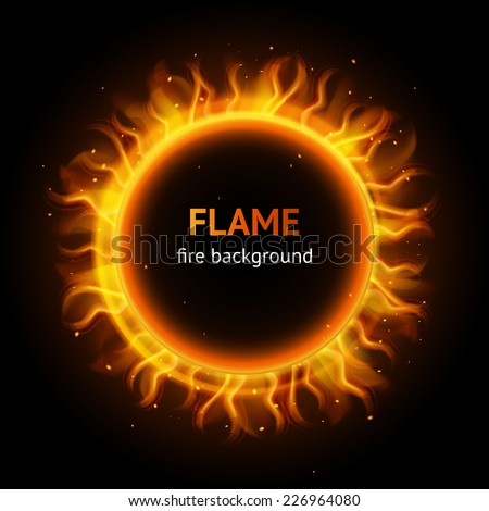 Burning hot bonfire inferno flame strokes circle realistic background vector illustration - stock vector