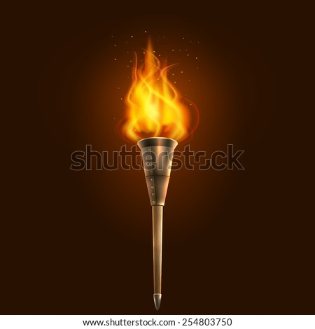 Burning in the dark realistic torch with flame icon abstract vector illustration - stock vector