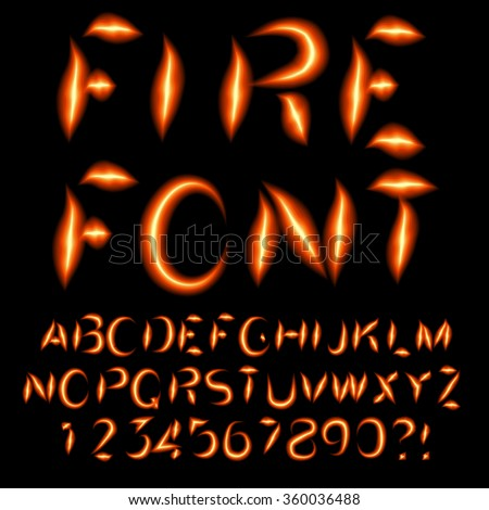 Burning letters. Fire font. Vector eps10. - stock vector