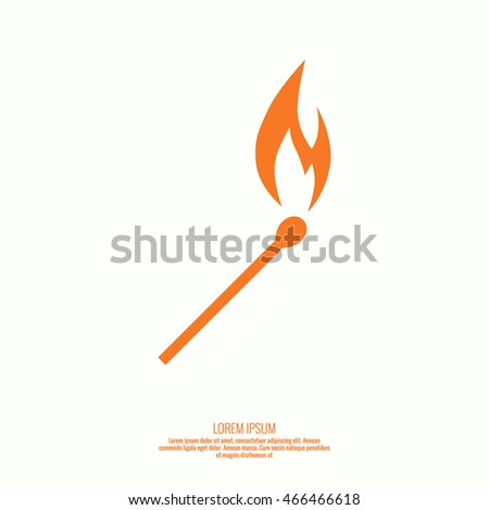 Burning match. Fire flames Icon. vector logo design template.