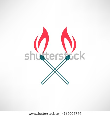 Burning match icon - stock vector