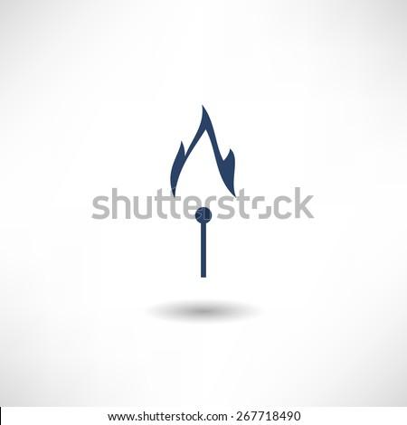 Burning match icon - stock vector