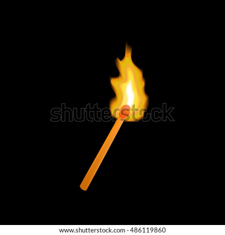 Burning match on a black background