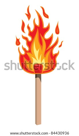 Burning match stick on a white background, vector illustration - stock vector