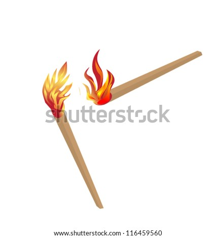 burning matches - stock vector