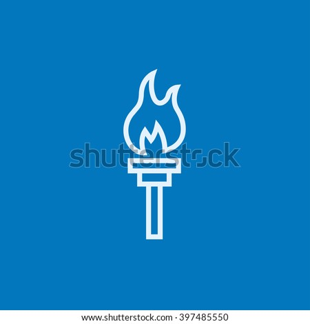 Burning olympic torch line icon. - stock vector