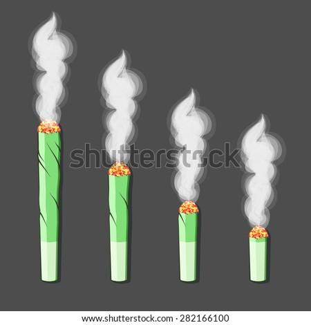 Burning roll-up with hemp in flat style. Vector - stock vector