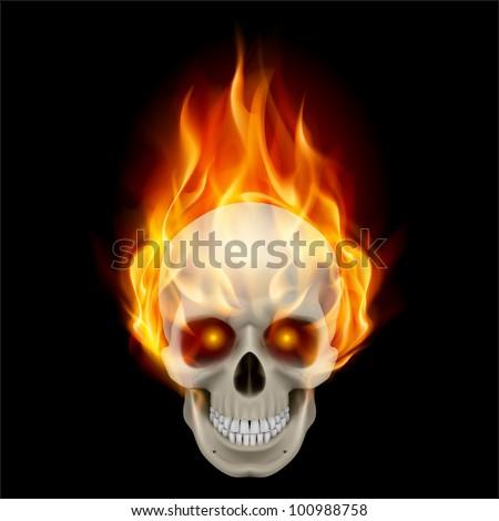 Burning skull in hot flame. Illustration on black background - stock vector