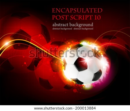 Burning soccer ball on abstract red  background - stock vector