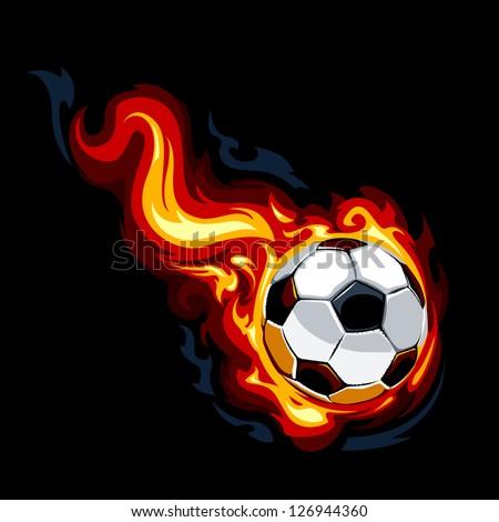 Burning soccer ball on black background. Vector illustration. - stock vector