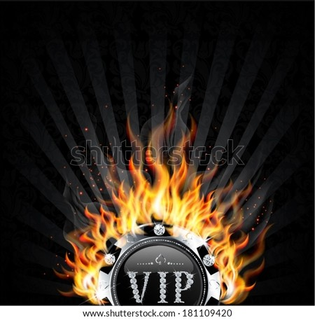 burning vip chip - stock vector