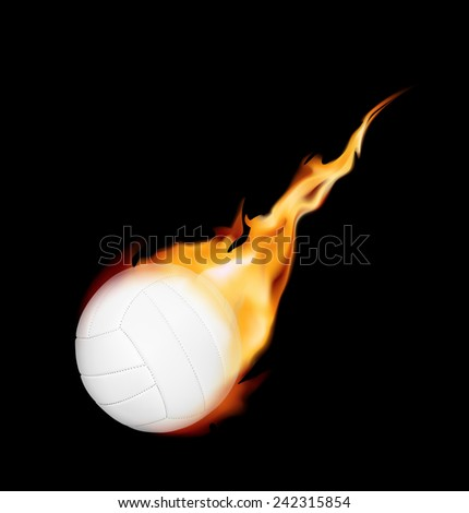 Burning volleyball ball on a black background. Vector illustration - stock vector