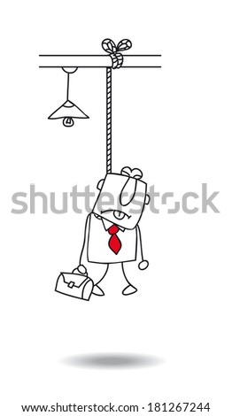 Burnout of a businessman. he committed suicide - stock vector