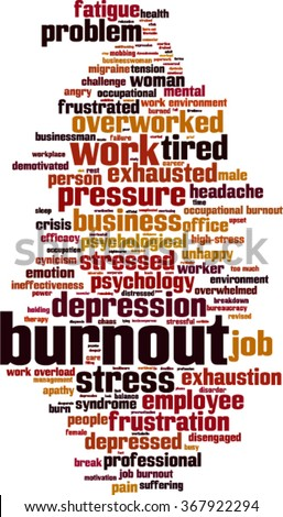Burnout word cloud concept. Vector illustration
