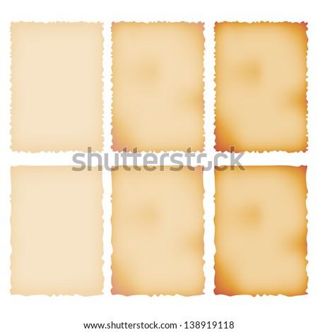 Burnt Paper Set. Torn Border. Isolated On White. Vector Illustration - stock vector