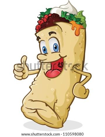 Burrito Cartoon Character Thumbs Up - stock vector