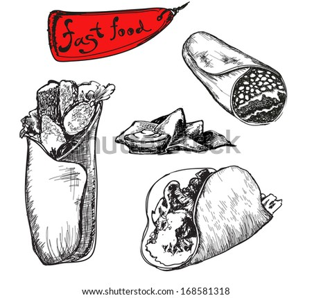 Burrito. Mexican traditional food set in hand drawn sketch style. Vector food illustration. Hand drawn grapgci ink isolated illustration on white background. Fast food mexican collection - stock vector