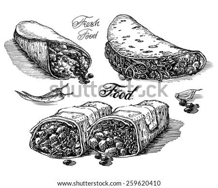 burritos vector logo design template. Mexican restaurant or fast food icon. - stock vector