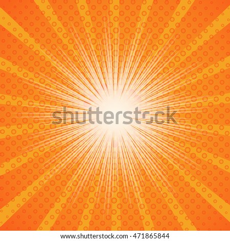 Burst and bubble on orange ray background for comic speed, EPS10 Vector Illustration