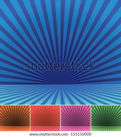 Burst backgrounds vector set. - stock vector