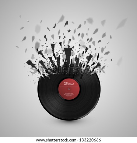 Burst music sign. Vinyl disk explosion, Hot music, Vector illustration