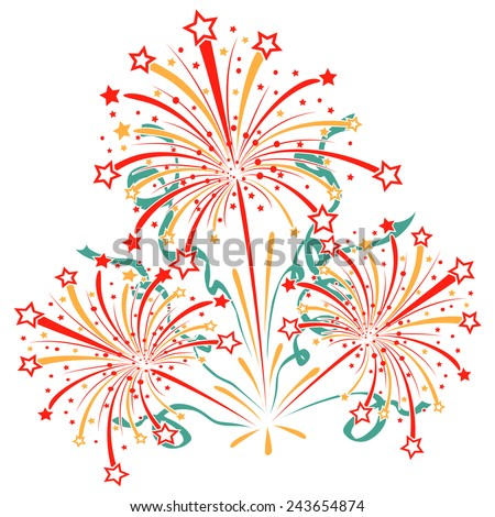 Bursting fireworks with tinsel, streamers and sparkles. Salute with ribbons and stars. Vector illustration - stock vector
