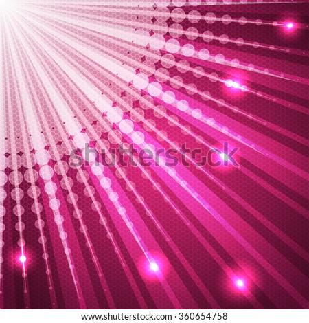Bursting pink background with halftone and glowing dots - stock vector