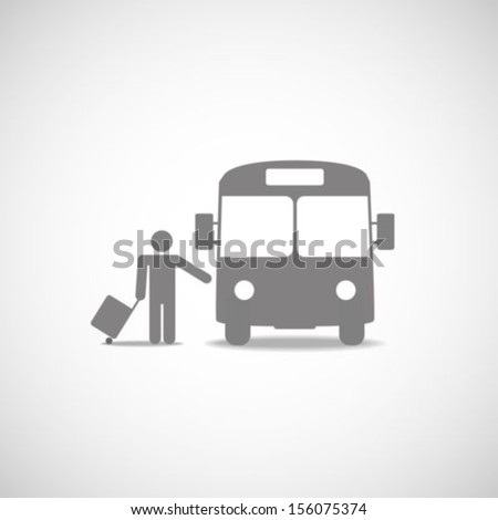 Bus and passenger symbol - stock vector