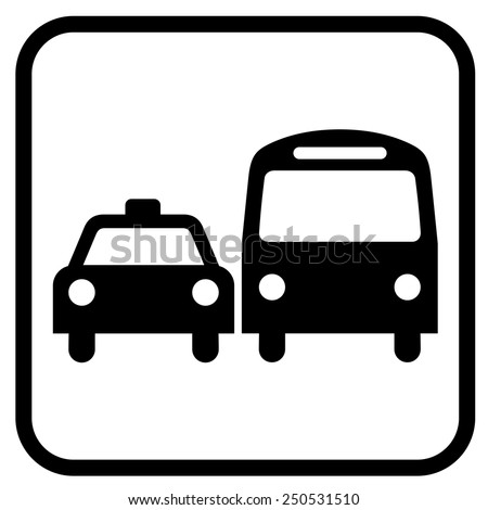 Bus Taxi Sign Symbol Isolated On Stock Vector Hd Royalty Free