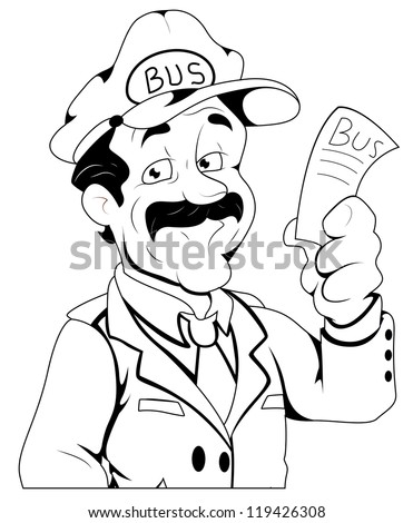 Bus Conductor - Vector Character Illustration - stock vector