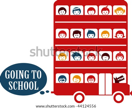 Bus full of children kidnapped by a wolf - stock vector