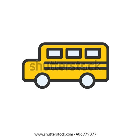 Bus fully scalable vector icon in outline style.