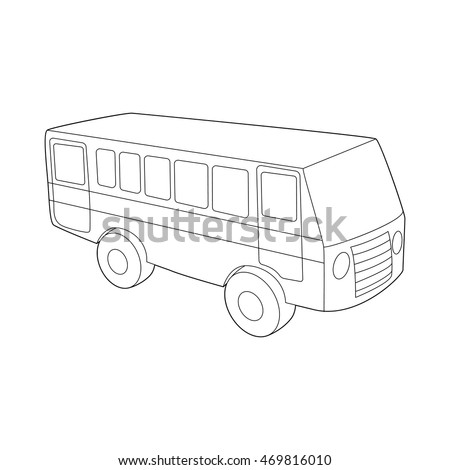 Bus icon in outline style isolated on white background. Transport symbol