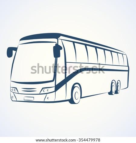 BUS OUTLINE VECTOR - stock vector