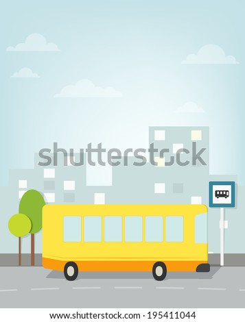 bus pulls to stop in the city - stock vector
