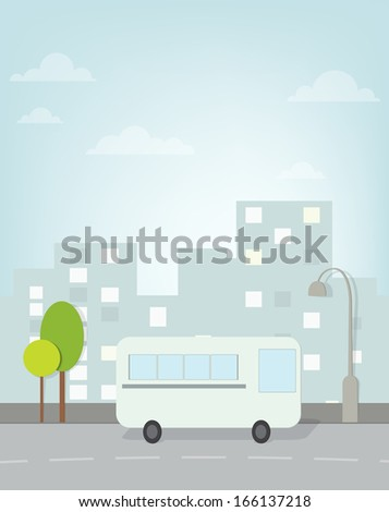 bus rides around town. vector image - stock vector