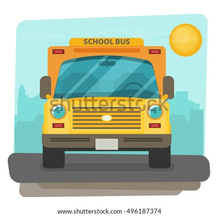 Bus school vector art. Flat style.