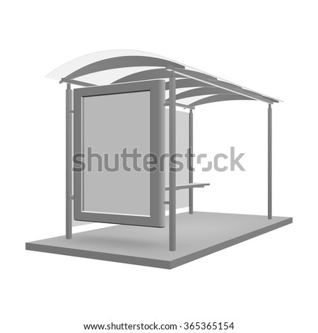 Bus shelters with billboard for your design. Vector object. - stock vector