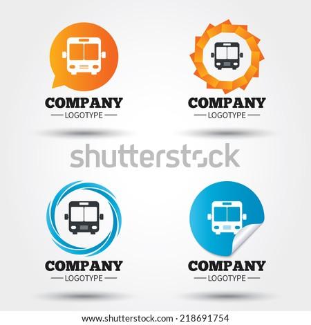 Bus sign icon. Public transport symbol. Business abstract circle logos. Icon in speech bubble, wreath. Vector - stock vector