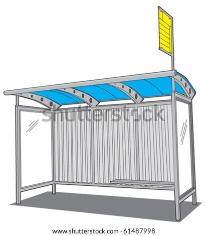 Bus station front - stock vector