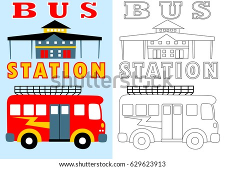 Bus Station Vector Cartoon For Coloring Page Or Book