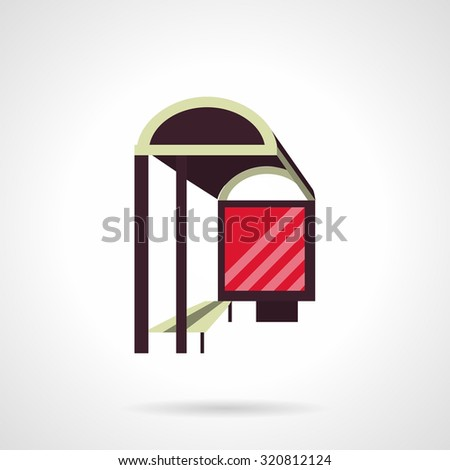 Bus station with red blank advertising board in perspective. Flat color style vector icon. City structures, outdoors advertising. Design symbols for business and website. - stock vector