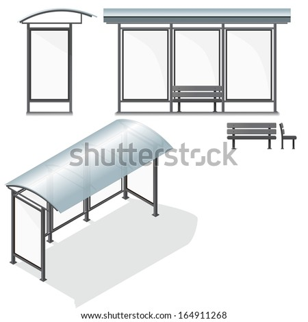 Bus Stop. Empty Design Template for Branding. Vector Illustration - stock vector
