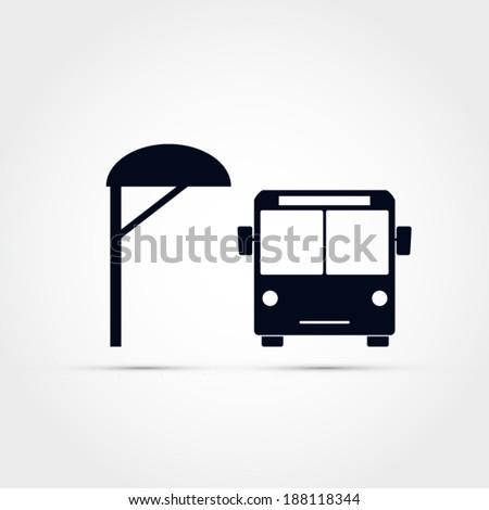 Bus stop icon - stock vector