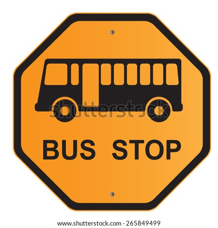 bus stop sign road sign isolated stock vector 265849499 - shutterstock