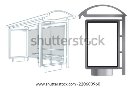 Bus Stop. Template for Branding. Vector Illustration.  - stock vector