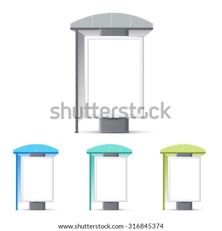 Bus stop with an advertising banner, Making stops advertising banners, a booth at the exhibition - stock vector